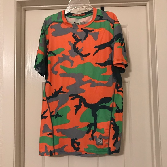 10b25196 Nike Shirts | Pro Combat Orange Green Camo Shirt Medium | Poshmark